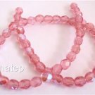 50 4mm Czech Firepolish Beads -- Milky Pink AB
