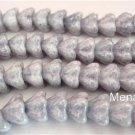 25 8mm Czech Glass Bell Flower Beads: Ultra Luster - Transparent Blue