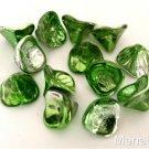 12 10x12mm Czech Glass Three Petal Flower Beads: Coated - Metallic Green/Silver