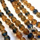 25 6mm Czech Glass Firepolish Beads: Topaz/Montana Blue