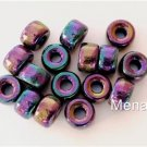 25 5x9mm Czech Glass Roll Beads: Iris - Purple