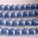25 8mm Czech Glass Round Beads:Luster - Oraque Lt. Blue
