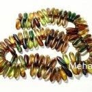 50 3x11mm Czech Glass Dagger Beads: Matte - Picasso Mix