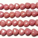 50 6x6mm Czech Glass Heart Beads: Oraque Pink
