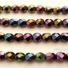 25 6mm Czech Glass Firepolish Beads: Iris - Purple