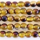 50 6mm Czech Round Beads: Blue Iris - Lemon Yellow