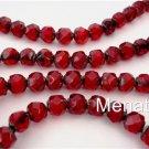 25 6mm Czech Glass Renaissance Beads: Ruby - Picasso