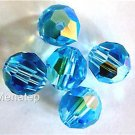 3 6mm Swarovski 5000 Crystal Rounds -- Aquamarine AB