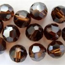 3 6mm Swarovski 5000 Crystal Rounds--Smoked Topaz Satin