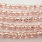 50 4 mm Czech Glass Firepolish Beads: Rosaline/Silver Lined