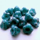 50 6mm Czech Glass Baby Bell Flower Beads: Luster - Opaque Turquoise