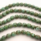 25 6mm Czech Glass Firepolish Beads: Opaque Turquoise - Picasso Full