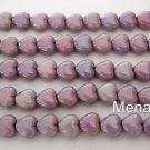 50 6x6 mm Czech Glass Heart Beads: Luster - Opaque Amethyst