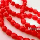 25 6mm Czech Glass Firepolish Beads: Opaque Red