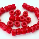 25 6 x 4mm Czech Glass Facetted Crow Beads: Opaque Red