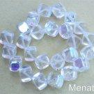25 8mm Czech Glass Diagonal Hole Cube Beads: Crystal AB