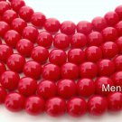 50 6mm Czech Glass Round Beads: Opaque Red