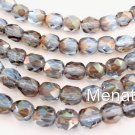 25 6mm Czech Glass Firepolish Beads: Light Sapphire -  Celsian