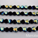 50 6x6 mm Czech Glass Heart Beads: Jet AB