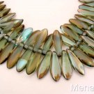 25 5 x 16mm Czech Glass Dagger Beads: Aquamarine - Celsian