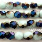25 6mm Czech Glass Firepolish Beads: Opaque Pale Turquoise - Blue Iris