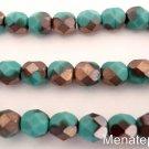 25 6mm Czech Glass Firepolish Beads: Matte - Apollo Turquoise
