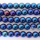 50 6 mm Czech Glass Round Beads: Iris - Blue