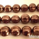 4(Four)  14mm Melon Round Beads: Pearl Coated - Chocolate Bronze