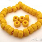 25 6 x 4mm Czech Glass Facetted Crow Beads: Opaque Yellow