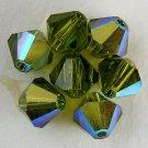8 4 mm Swarovski 5301 Crystal Bicones -- Olivine AB
