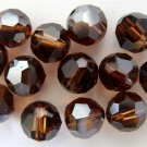 3 6 mm Swarovski 5000 Crystal Rounds--Smoked Topaz Satin