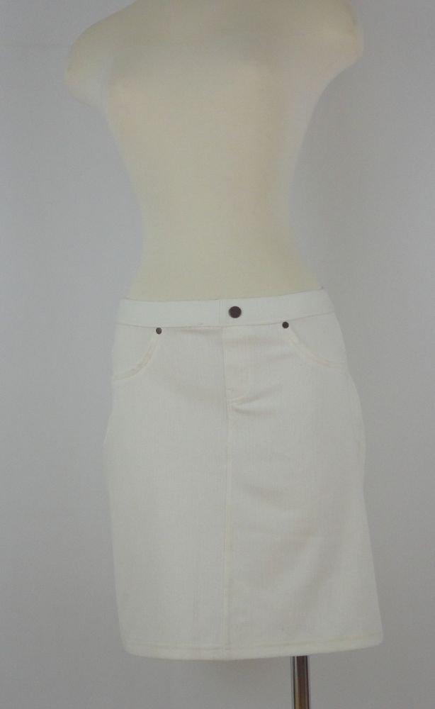 Hue Chino Chic Skirt- U12938- OFF WHITE- LARGE