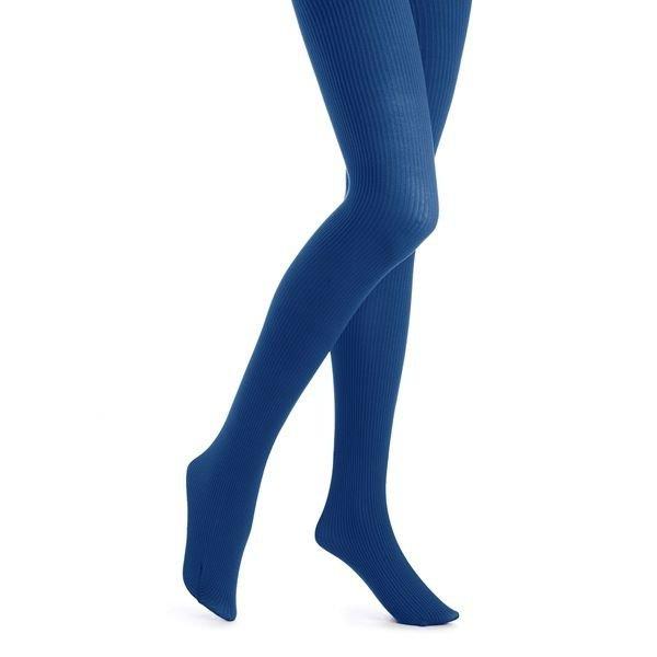 Hue Classic Rib Tights, Nylon/Spandex, BLUE, SIZE 2-SMALL/MEDIUM