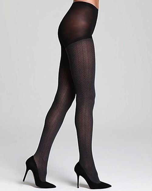 HUE Tights, Pinstripe Herringbone Control Top Tights, BLACK, SMALL/MEDIUM