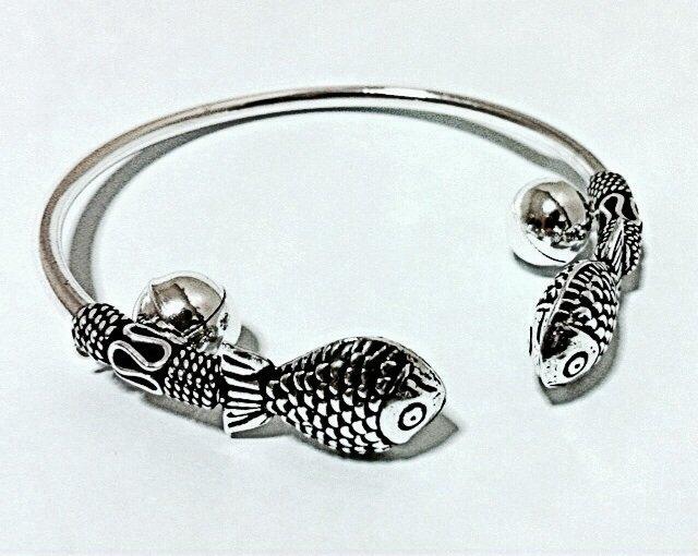 Authentic Thai Silver Bracelet 925 (Silver 92.5%) Cute Fish Bangle
