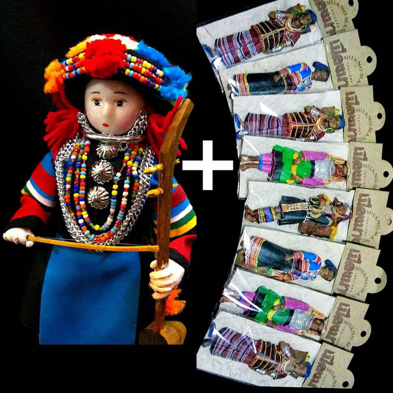 Thai Handmade 'Hill Tribe Doll' Fully Decorated 'Lisu' + 3D Hill Tribe Fridge Magnets' Vintage Sets