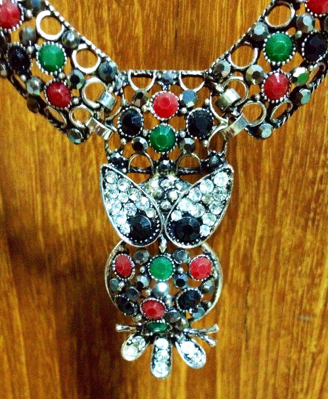 Unique Retro Antique Handicraft Multicolored Necklace Owl Pendant