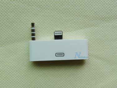 White 8 pin to 30 pin AUDIO JACK 3.5 mm Adapter Converter for iPhone 6 4.7''