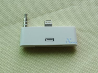 White 8 to 30 pin AUDIO JACK 3.5 mm Adapter Converter for iPhone 6 plug 5.5''