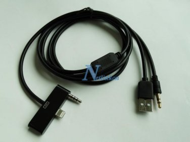ALPINE AUX CABLE 8-PIN iPHONE 5 5s 5c iPOD & TOUCH 5th GEN USB 3.5MM KCU-461iV