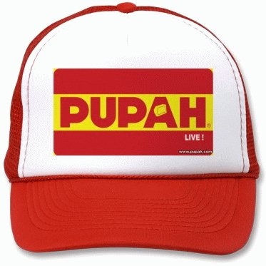 PUPAHLIVE !- White & Red Trucker Cap