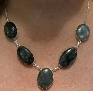 Labradorite Necklace with Sterling Silver Overlay
