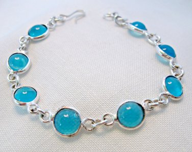 Blue Chalcedony Bracelet for Girls or Small Wrist