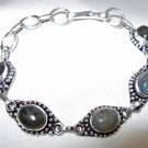Labradorite Bracelet with 925 Sterling Silver Overlay