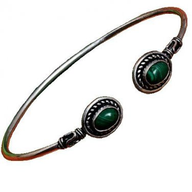 Green Malachite Cuff Bracelet with Sterling Silver Overlay