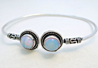 Opalite Cuff Bracelet with Sterling Silver Overlay