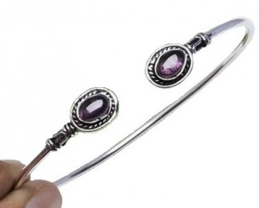 Amethyst Cuff Bracelet with Silver Overlay
