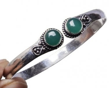 Green Onyx Cuff Bracelet with Sterling Silver Overlay
