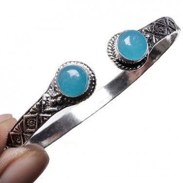 Blue Chalcedony Cuff Bracelet with Silver Overlay