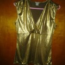 Ann taylor very beautiful top golden spandex blouse size. S